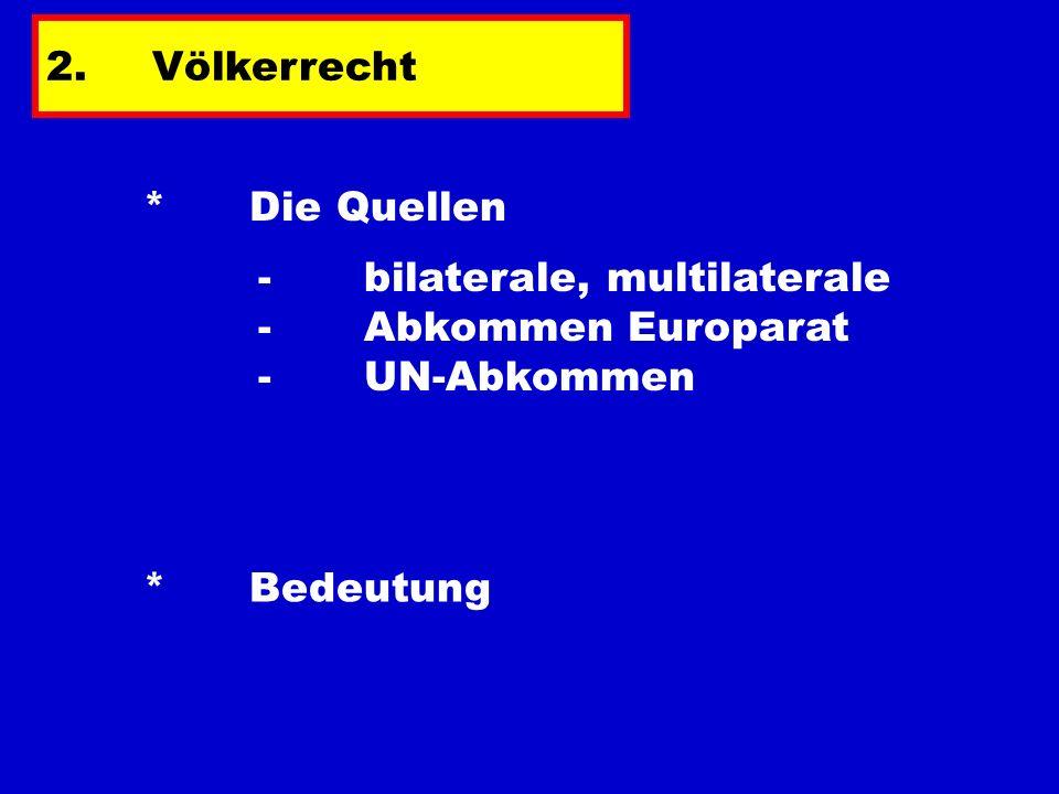 2. Völkerrecht * Die Quellen. - bilaterale, multilaterale - Abkommen Europarat - UN-Abkommen.