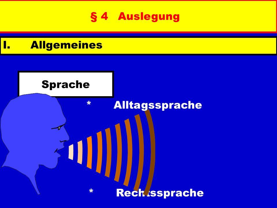 § 4 Auslegung I. Allgemeines Sprache * Alltagssprache * Rechtssprache