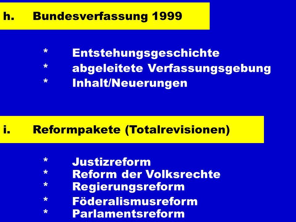 h. Bundesverfassung 1999 * Entstehungsgeschichte. * abgeleitete Verfassungsgebung. * Inhalt/Neuerungen.