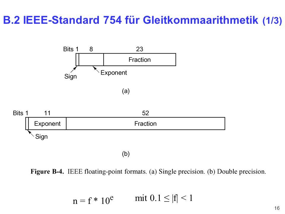 B.2 IEEE-Standard 754 für Gleitkommaarithmetik (1/3)