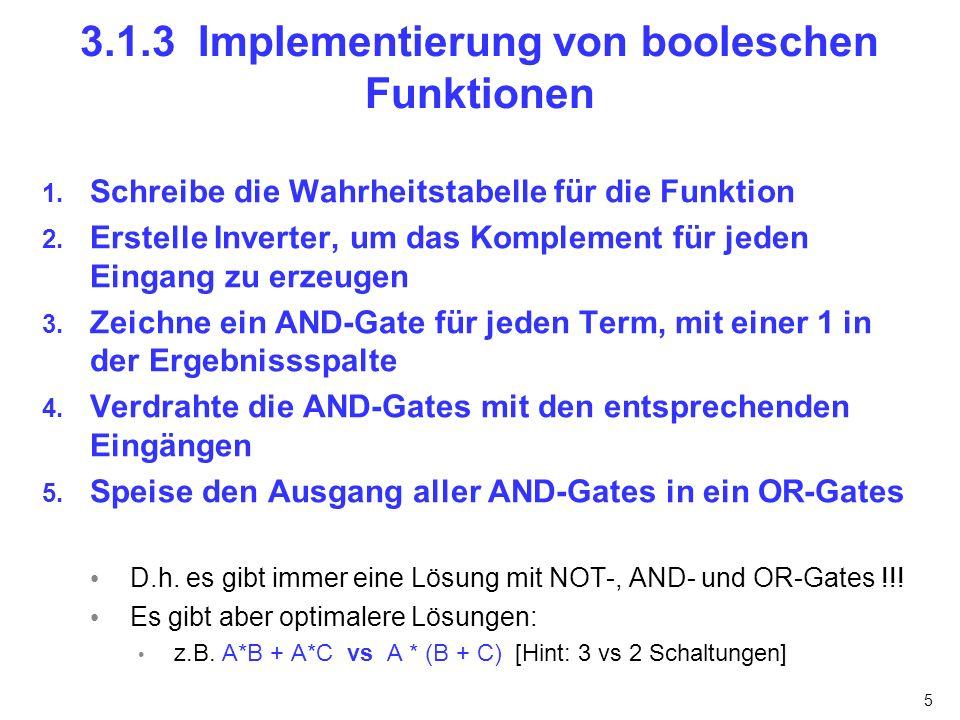 3.1.3 Implementierung von booleschen Funktionen