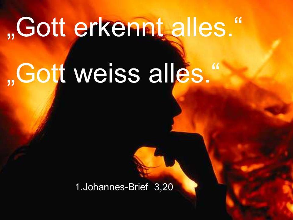 """Gott erkennt alles. ""Gott weiss alles. 1.Johannes-Brief 3,20"
