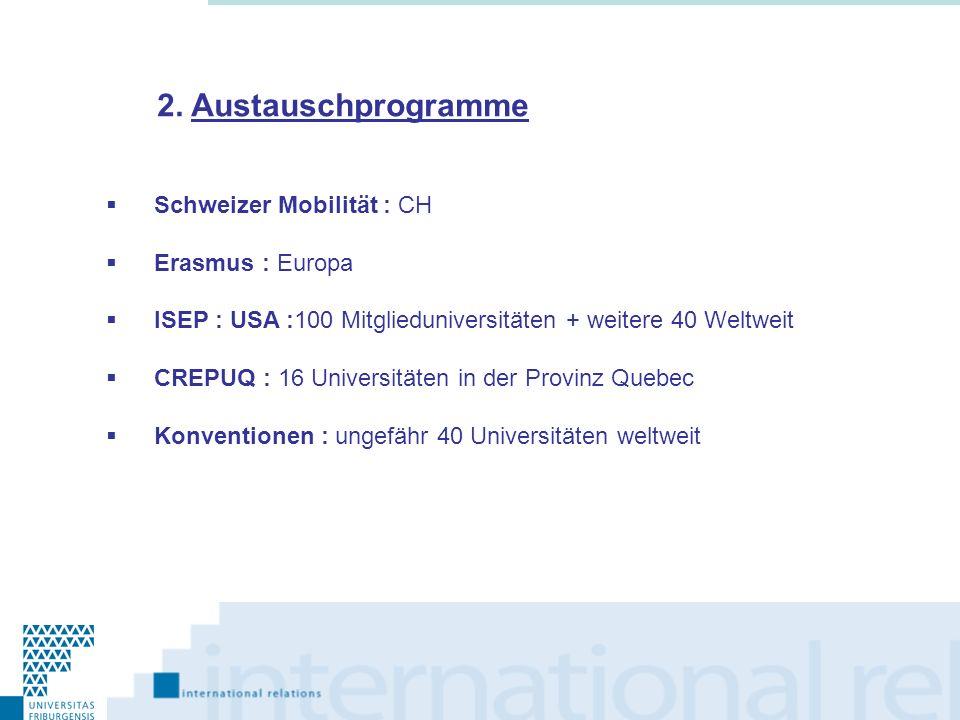 2. Austauschprogramme Schweizer Mobilität : CH Erasmus : Europa