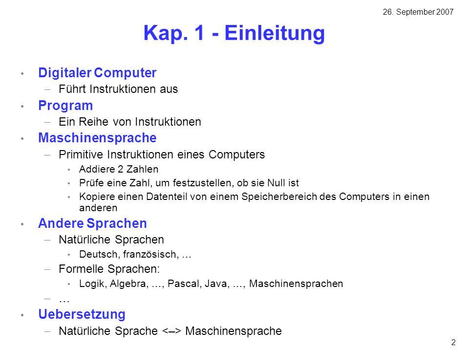 Kap. 1 - Einleitung Digitaler Computer Program Maschinensprache