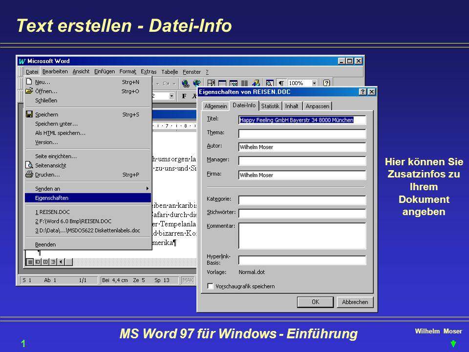 Text erstellen - Datei-Info
