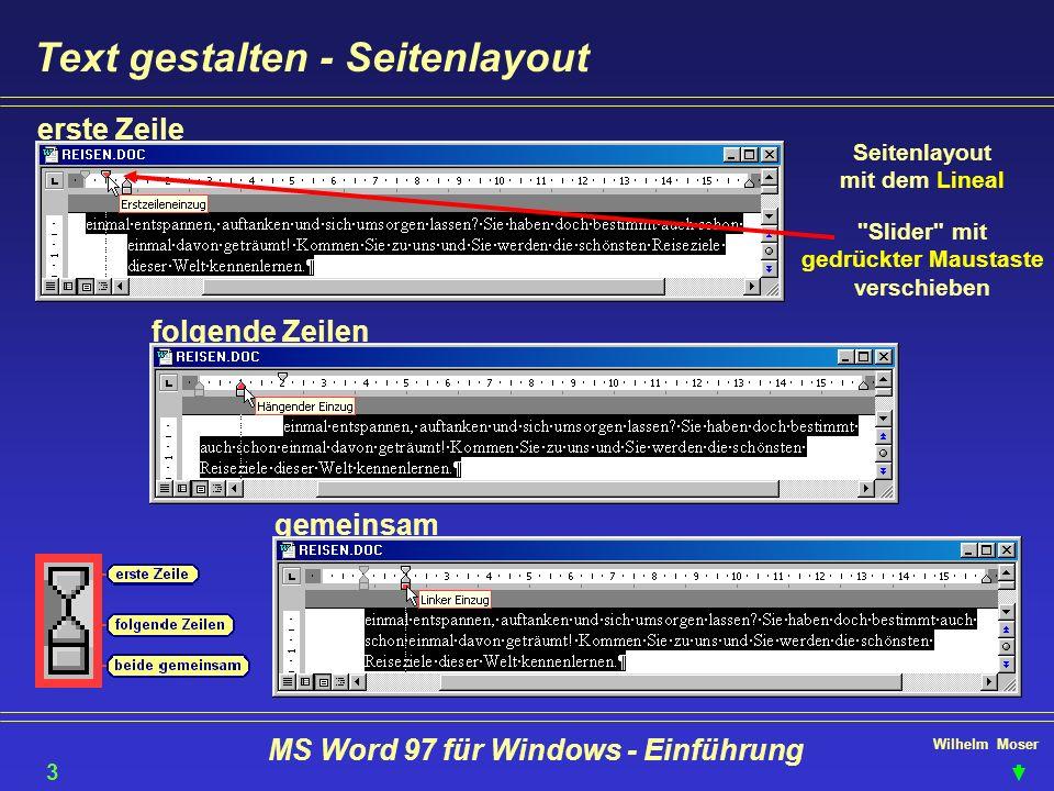 Text gestalten - Seitenlayout