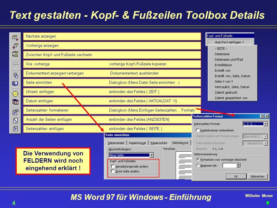 Text gestalten - Kopf- & Fußzeilen Toolbox Details