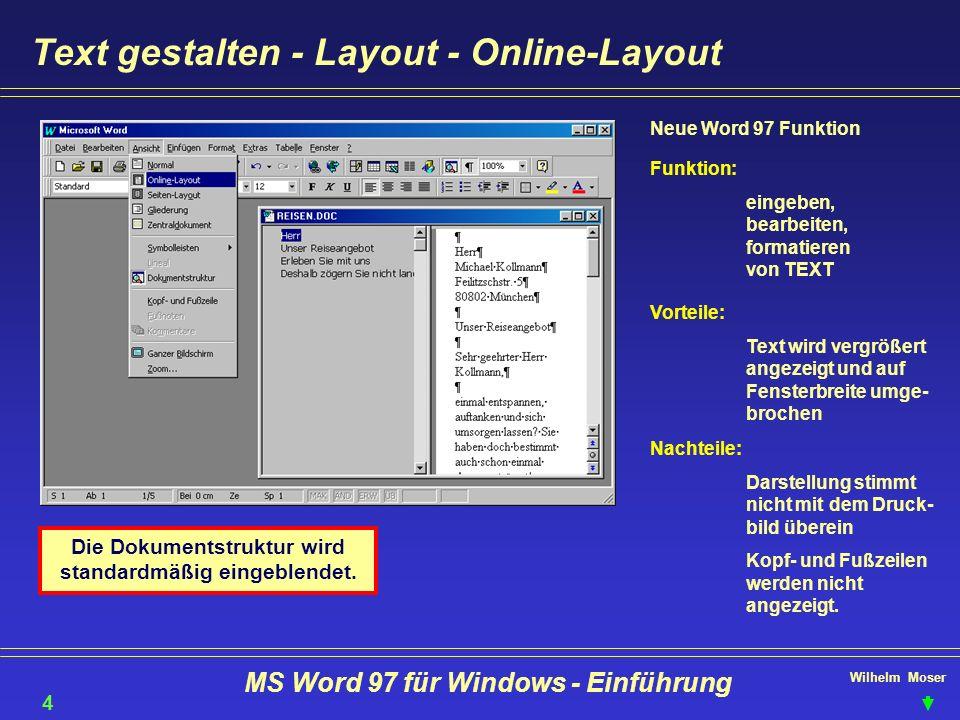 Text gestalten - Layout - Online-Layout