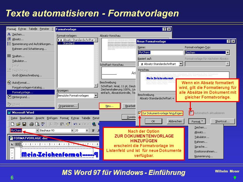 Texte automatisieren - Formatvorlagen