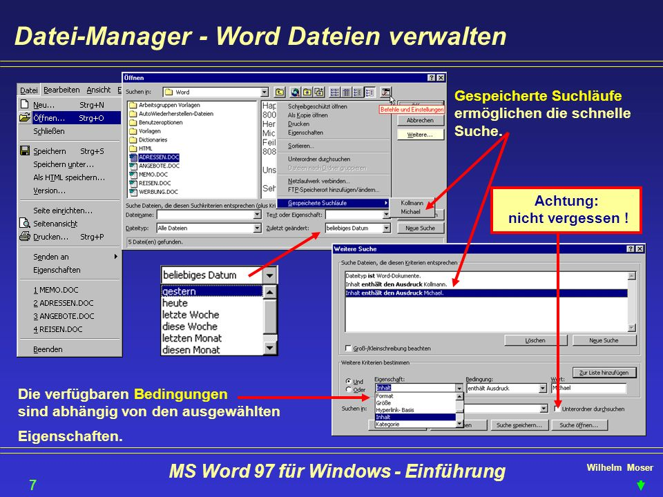 Achtung: nicht vergessen ! MS Word 97 für Windows - Einführung