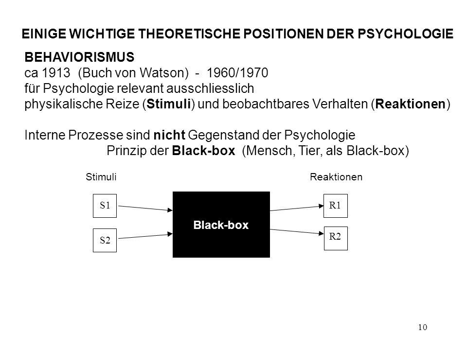 EINIGE WICHTIGE THEORETISCHE POSITIONEN DER PSYCHOLOGIE