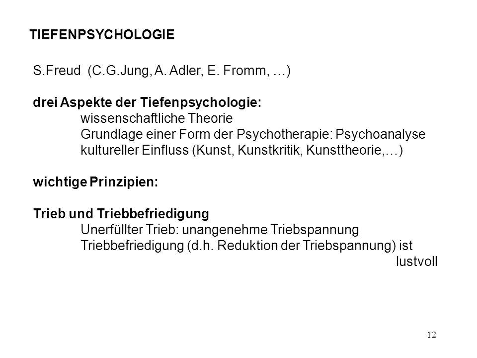 TIEFENPSYCHOLOGIES.Freud (C.G.Jung, A. Adler, E. Fromm, …) drei Aspekte der Tiefenpsychologie: wissenschaftliche Theorie.