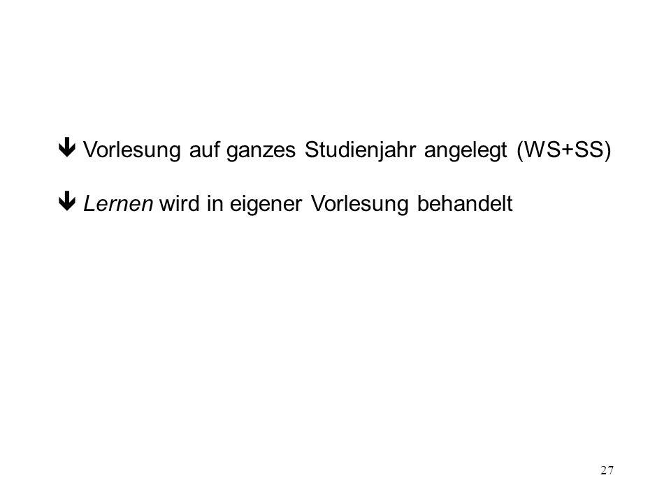  Vorlesung auf ganzes Studienjahr angelegt (WS+SS)