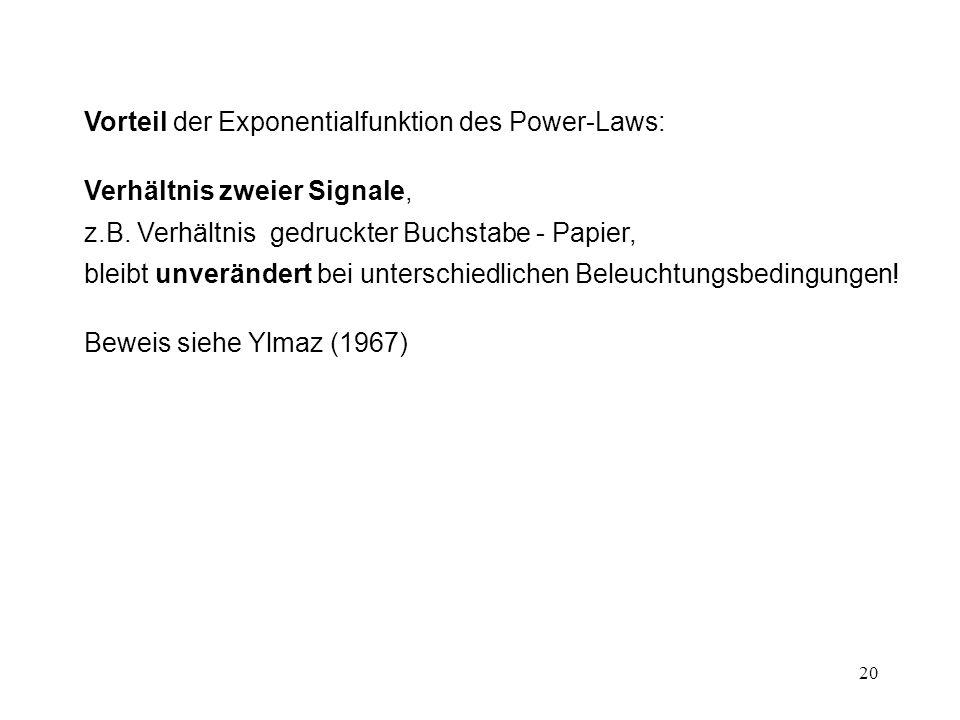 Vorteil der Exponentialfunktion des Power-Laws:
