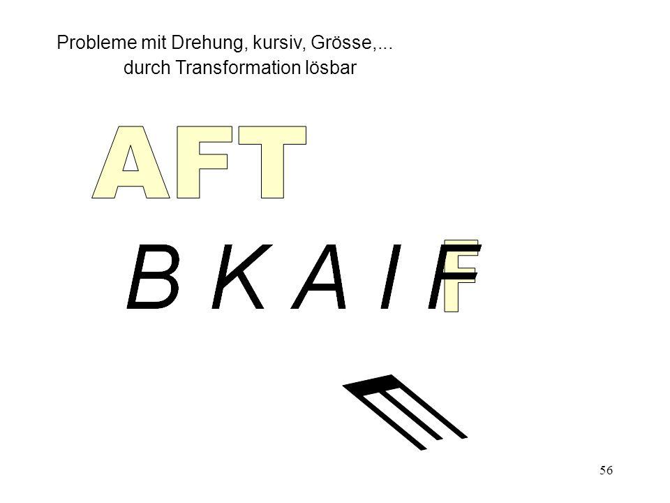 AFT F E Probleme mit Drehung, kursiv, Grösse,...