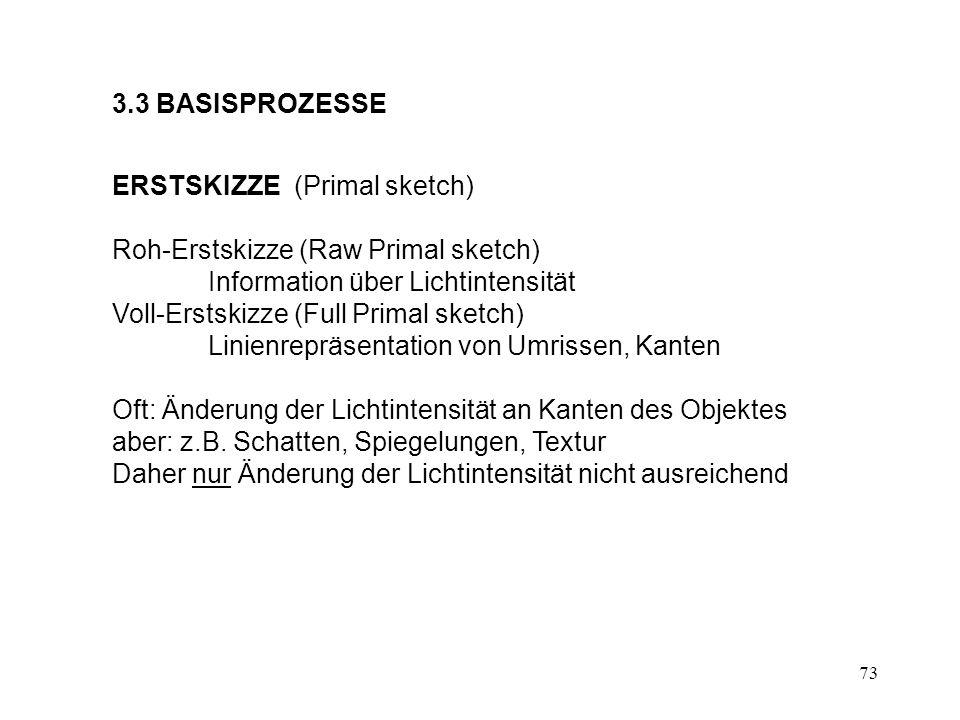3.3 BASISPROZESSE ERSTSKIZZE (Primal sketch) Roh-Erstskizze (Raw Primal sketch) Information über Lichtintensität.