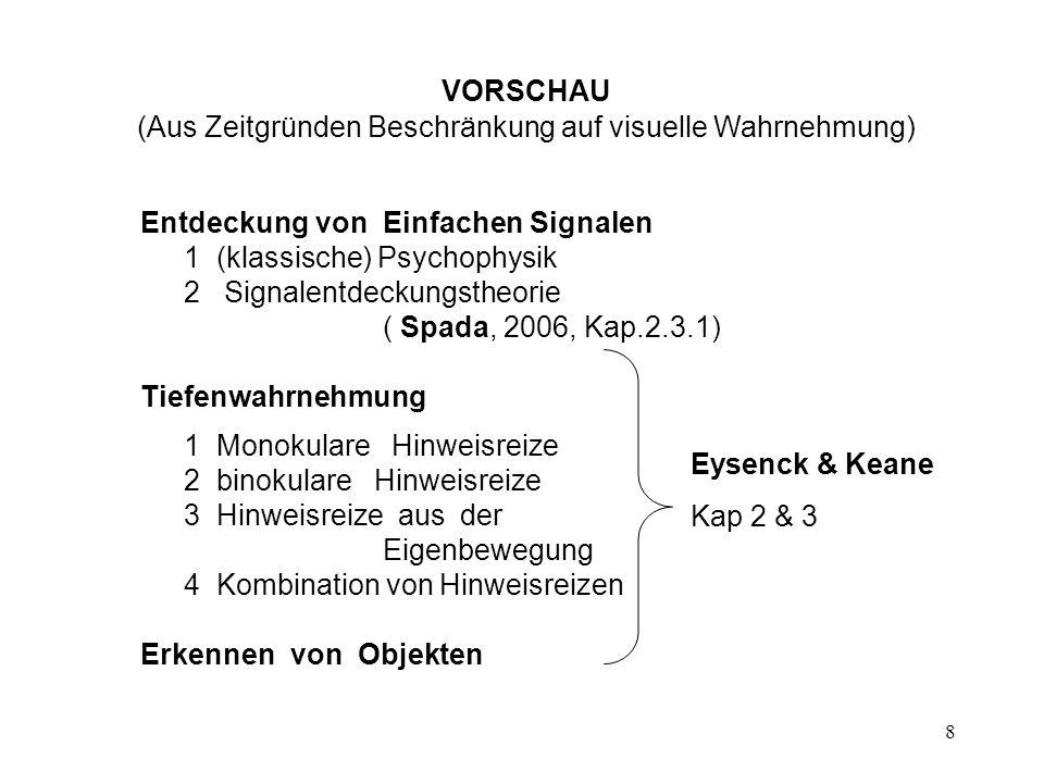 VORSCHAU (Aus Zeitgründen Beschränkung auf visuelle Wahrnehmung)
