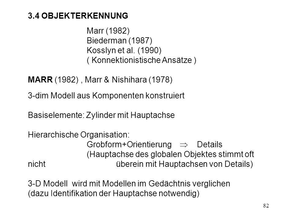 3.4 OBJEKTERKENNUNG Marr (1982) Biederman (1987) Kosslyn et al. (1990) ( Konnektionistische Ansätze )