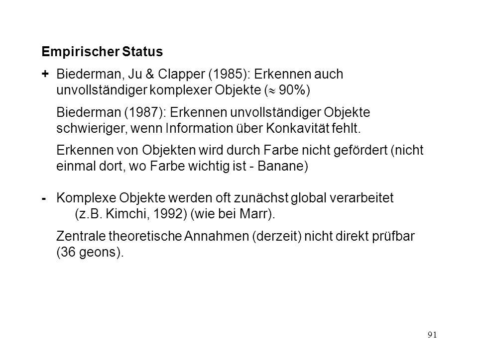 Empirischer Status + Biederman, Ju & Clapper (1985): Erkennen auch unvollständiger komplexer Objekte ( 90%)