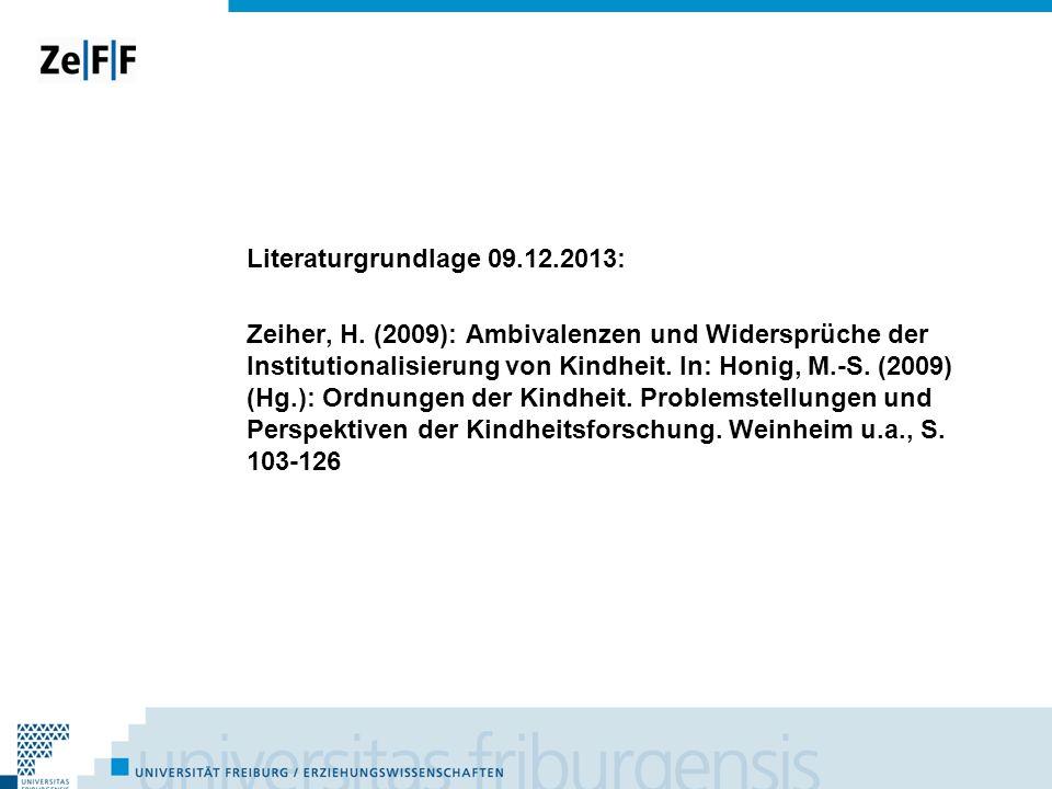 Literaturgrundlage 09. 12. 2013: Zeiher, H