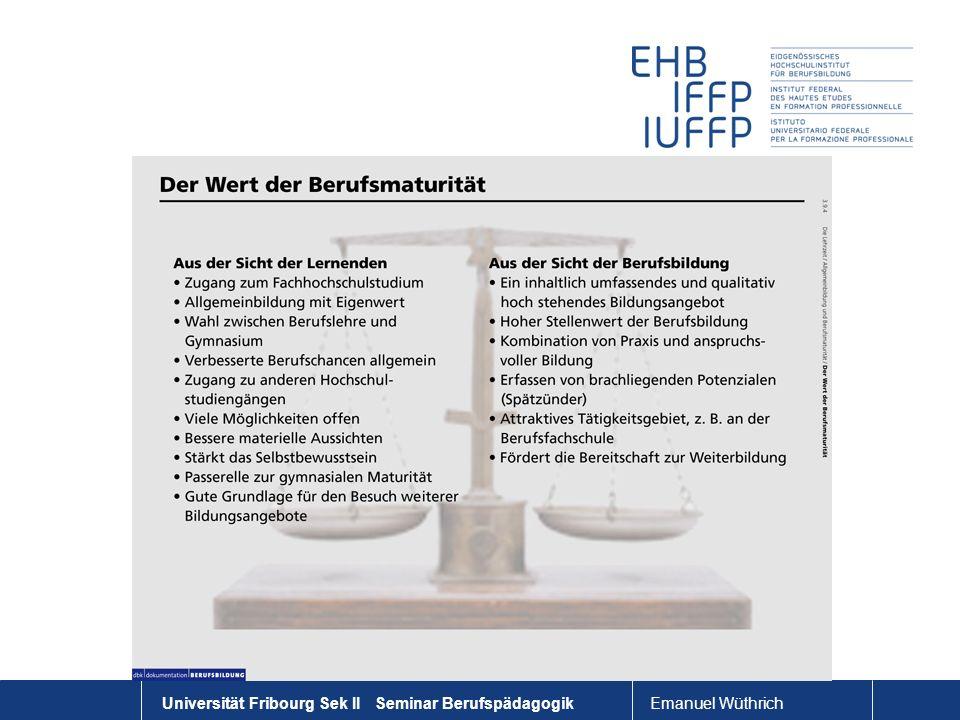 Universität Fribourg Sek II Seminar Berufspädagogik