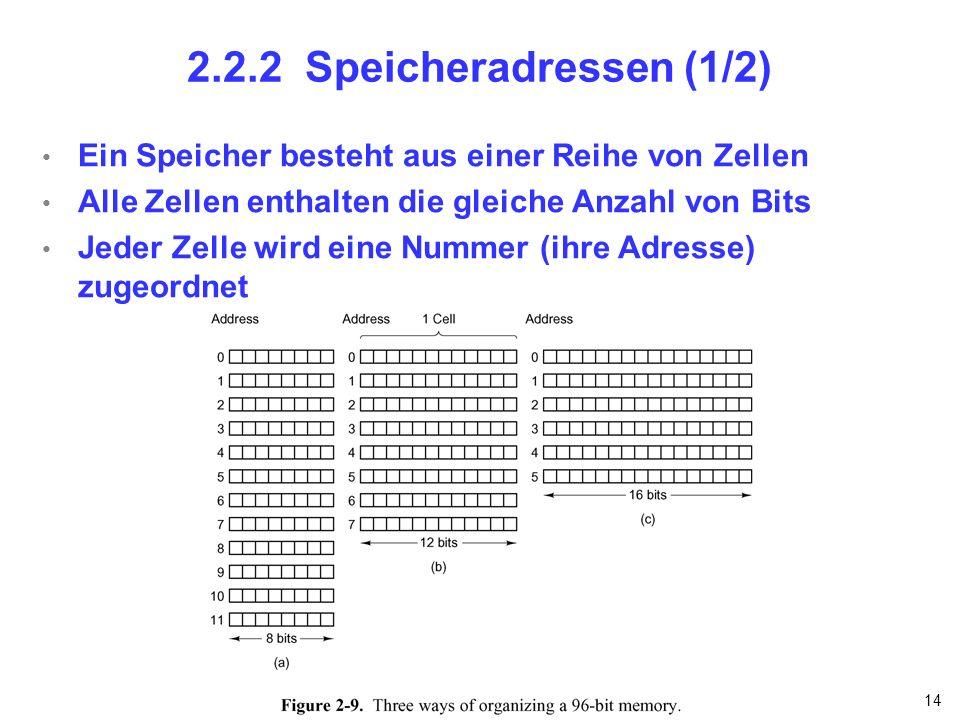 2.2.2 Speicheradressen (1/2) Ein Speicher besteht aus einer Reihe von Zellen. Alle Zellen enthalten die gleiche Anzahl von Bits.