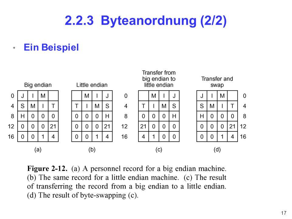 2.2.3 Byteanordnung (2/2) Ein Beispiel nfnfdnfnfn
