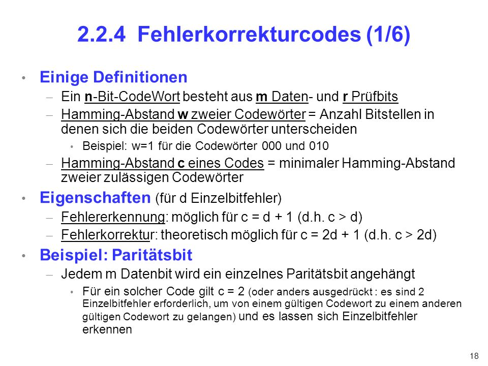 2.2.4 Fehlerkorrekturcodes (1/6)