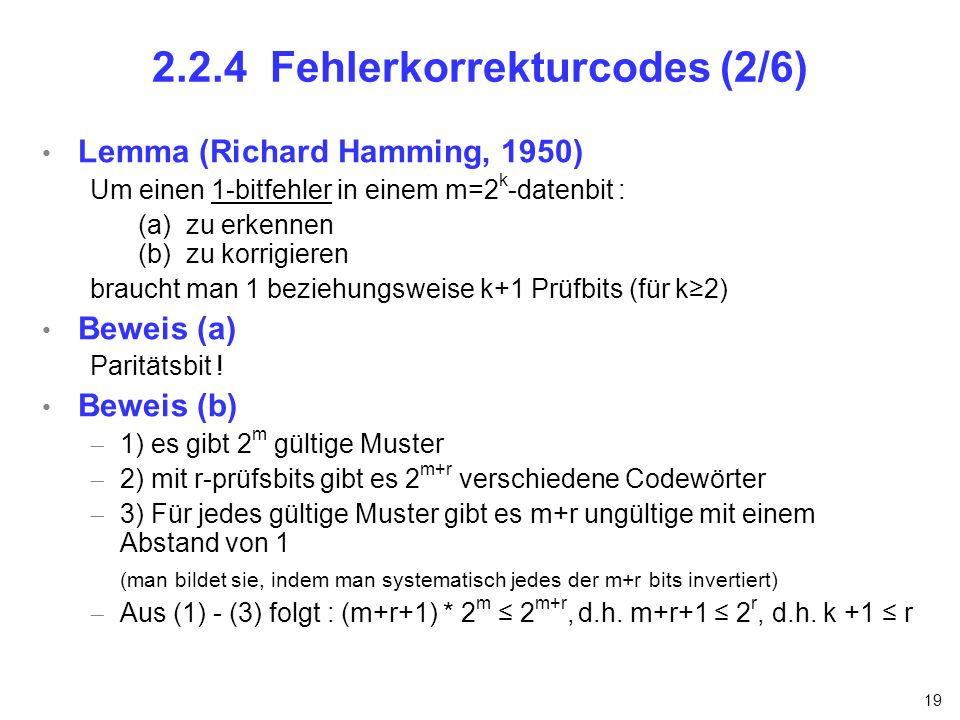 2.2.4 Fehlerkorrekturcodes (2/6)