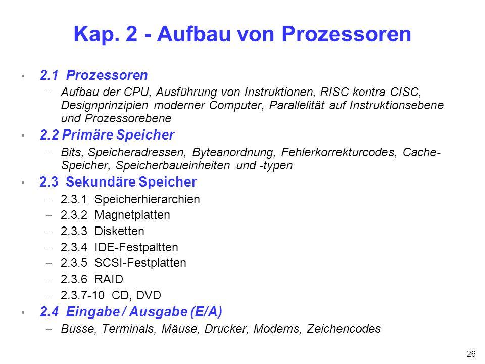Kap. 2 - Aufbau von Prozessoren