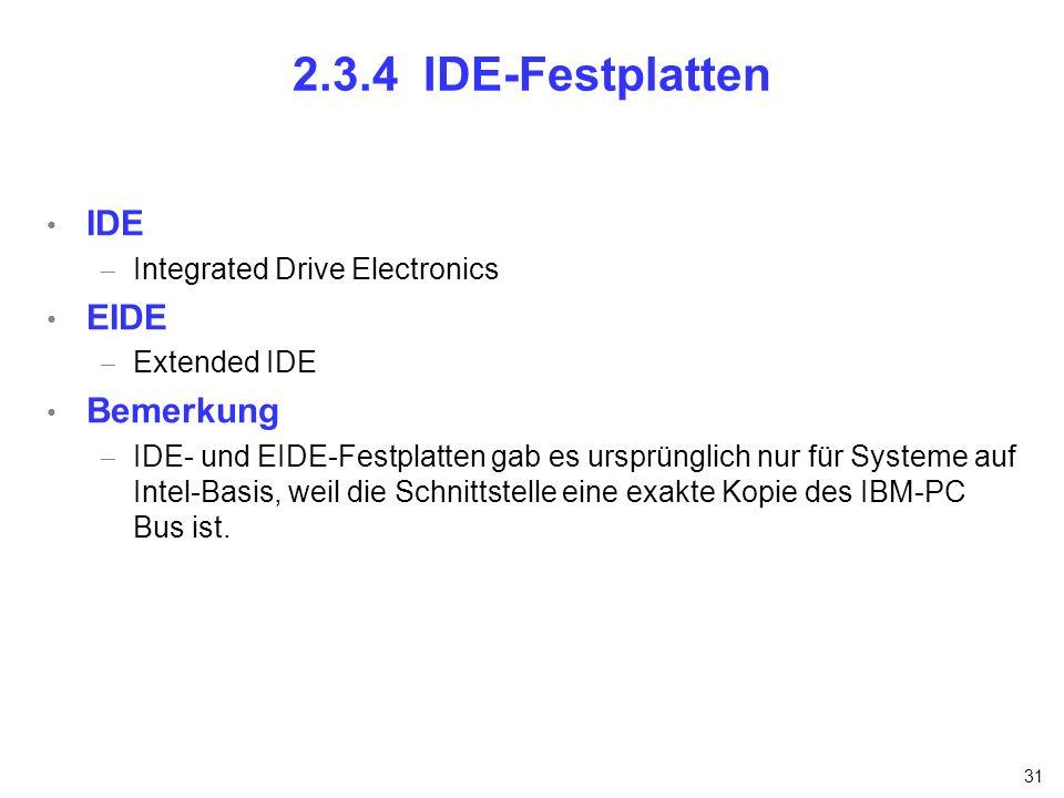 2.3.4 IDE-Festplatten IDE EIDE Bemerkung Integrated Drive Electronics