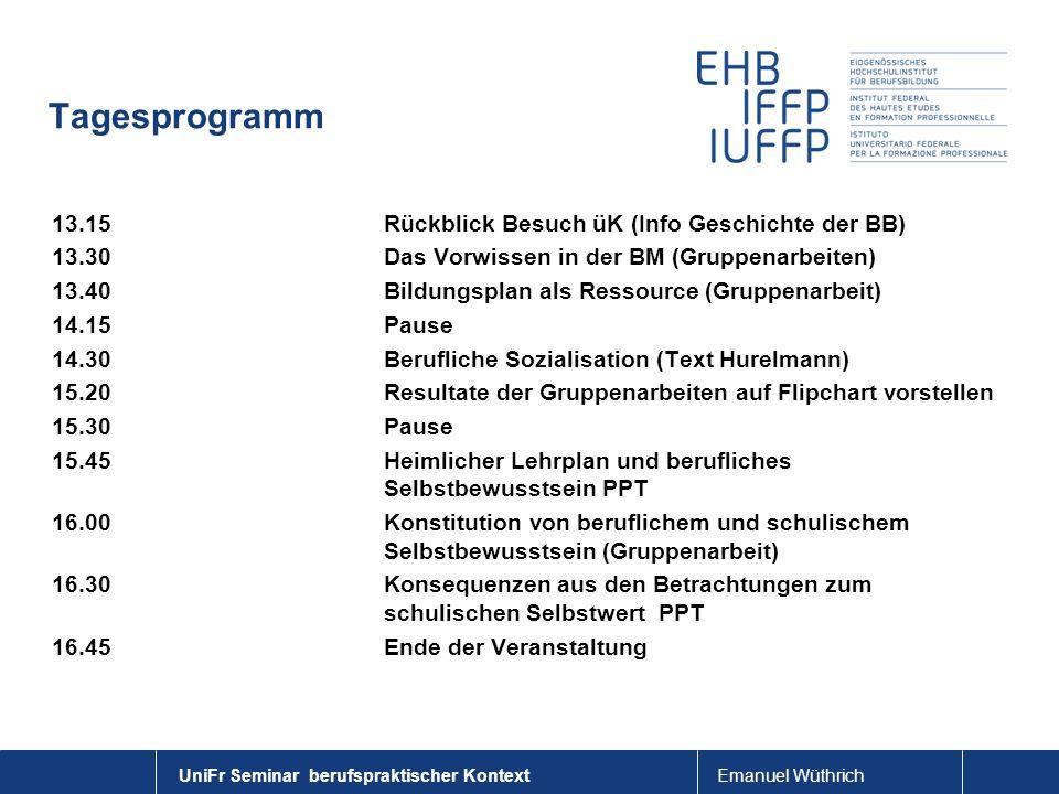 Tagesprogramm 13.15 Rückblick Besuch üK (Info Geschichte der BB)