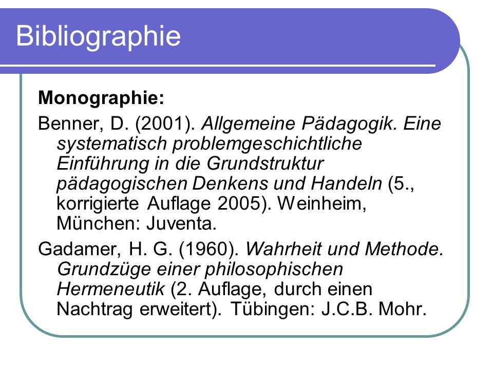 Bibliographie Monographie: