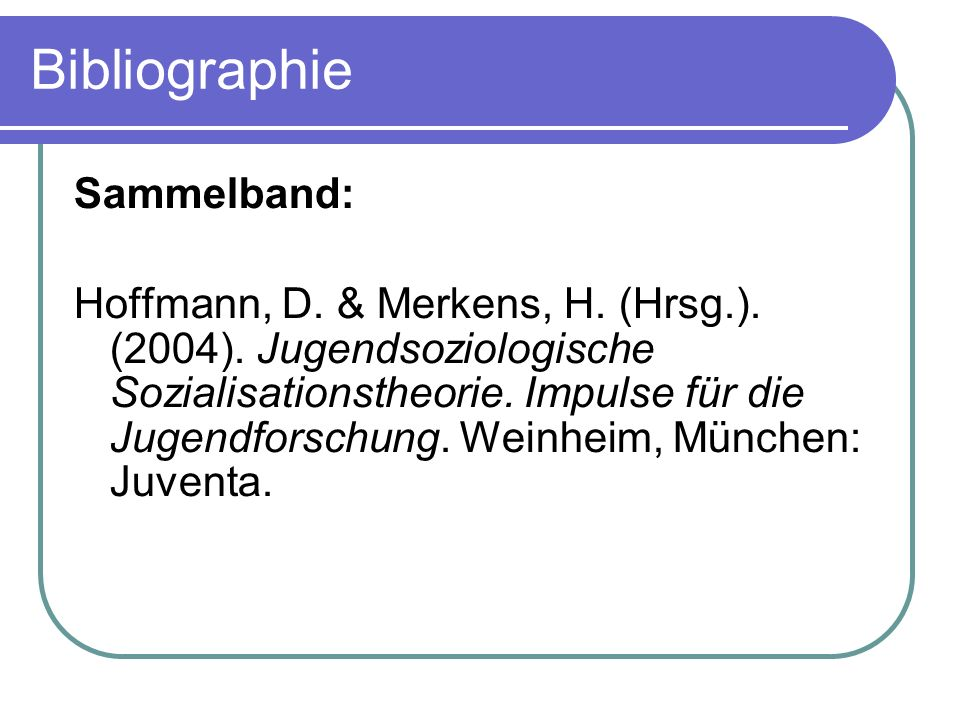 Bibliographie Sammelband: