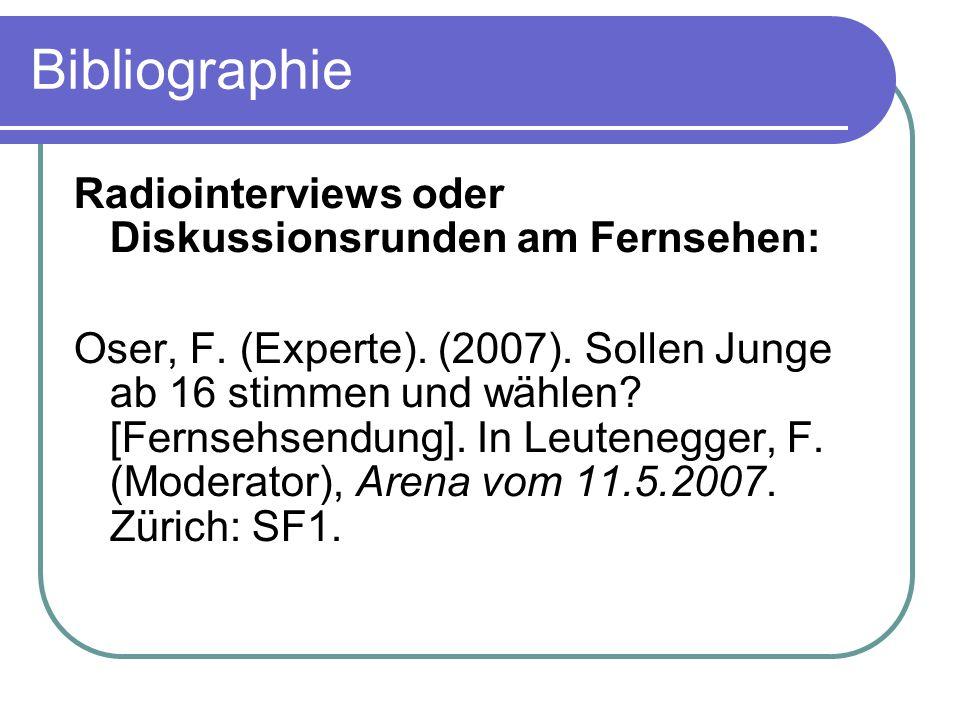 Bibliographie Radiointerviews oder Diskussionsrunden am Fernsehen: