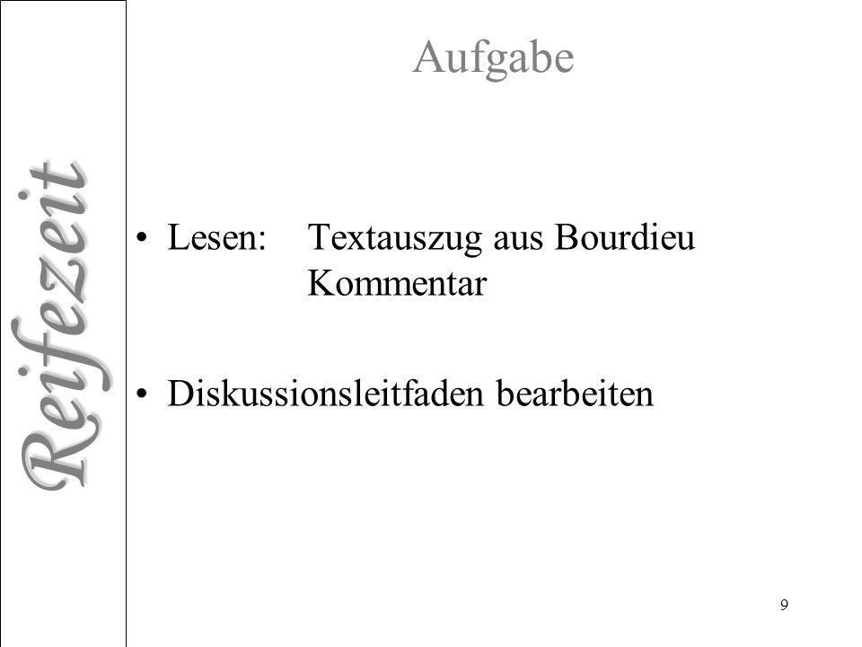 Aufgabe Lesen: Textauszug aus Bourdieu Kommentar