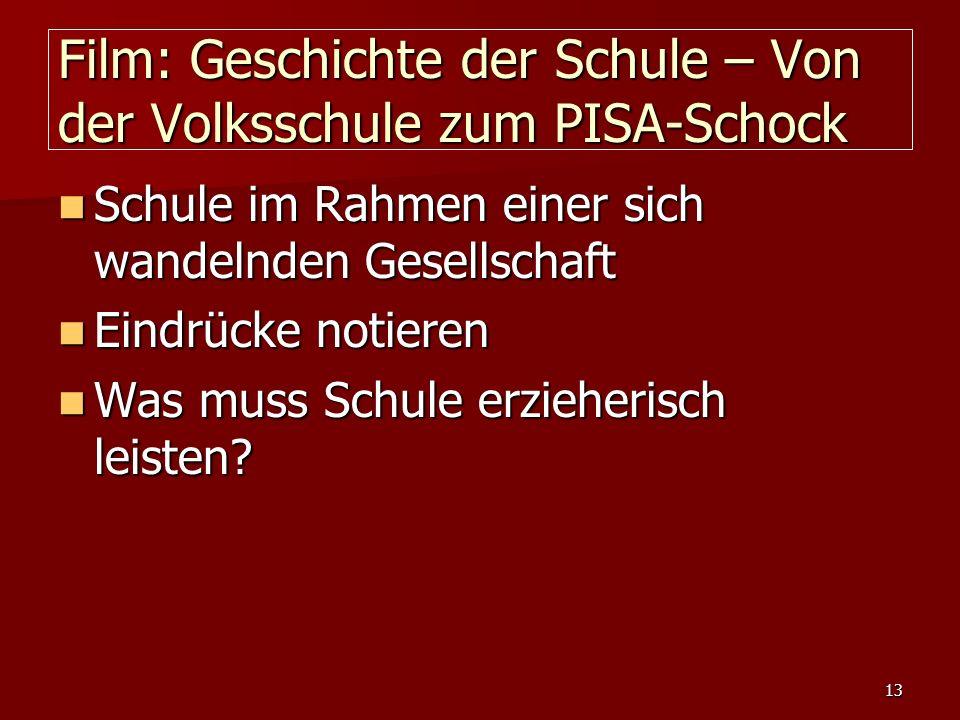 Film: Geschichte der Schule – Von der Volksschule zum PISA-Schock