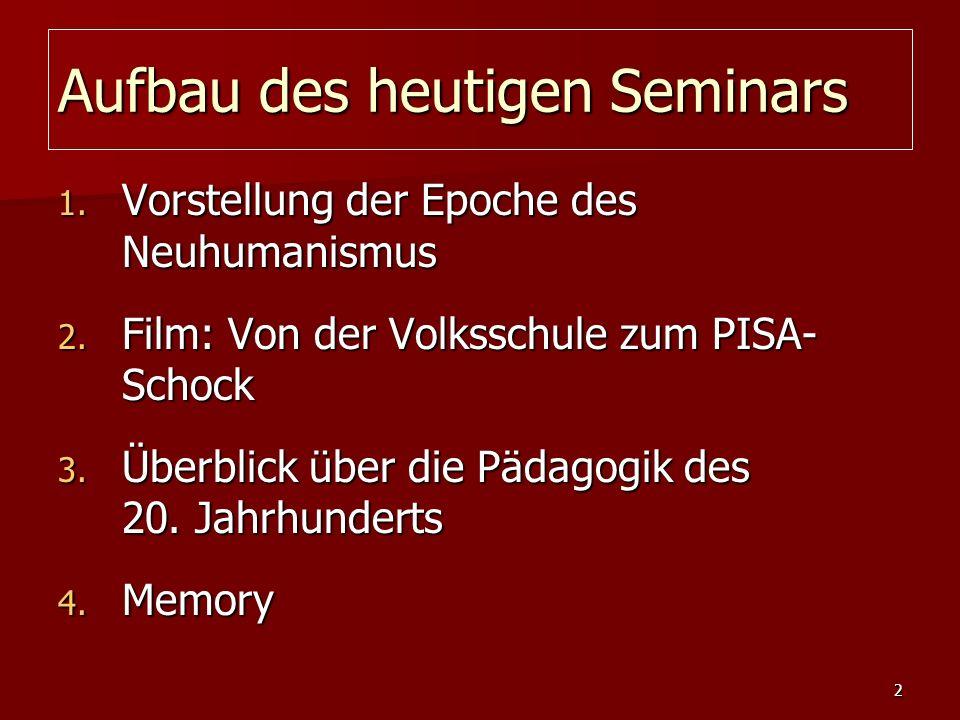 Aufbau des heutigen Seminars