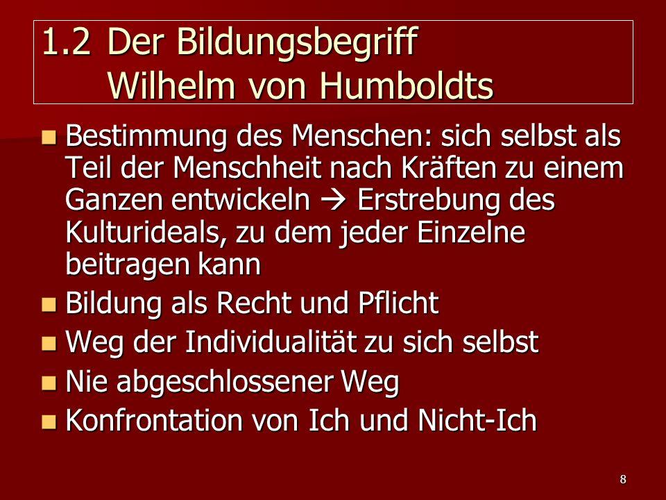 1.2 Der Bildungsbegriff Wilhelm von Humboldts