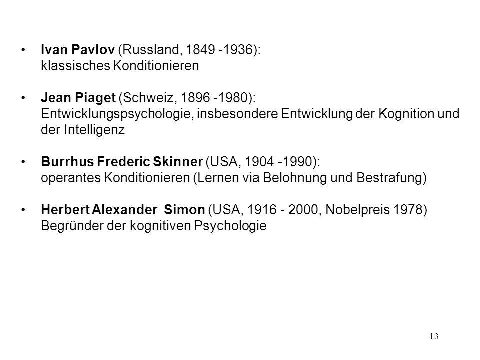 Ivan Pavlov (Russland, 1849 -1936): klassisches Konditionieren