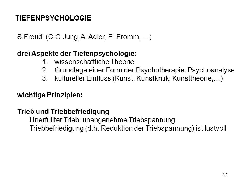 TIEFENPSYCHOLOGIE S.Freud (C.G.Jung, A. Adler, E. Fromm, …) drei Aspekte der Tiefenpsychologie: wissenschaftliche Theorie.