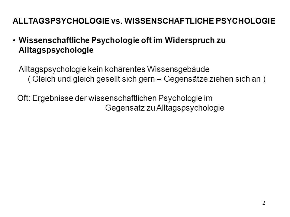 ALLTAGSPSYCHOLOGIE vs. WISSENSCHAFTLICHE PSYCHOLOGIE