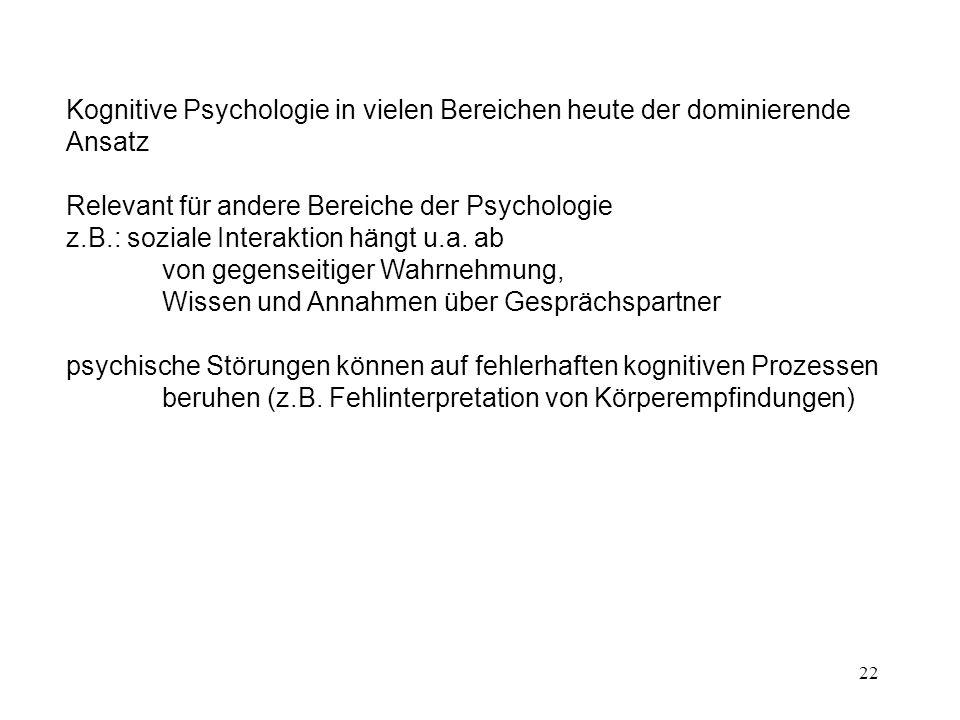 Relevant für andere Bereiche der Psychologie
