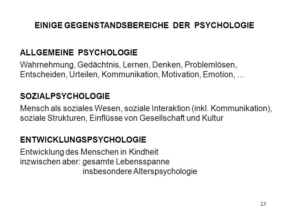 EINIGE GEGENSTANDSBEREICHE DER PSYCHOLOGIE