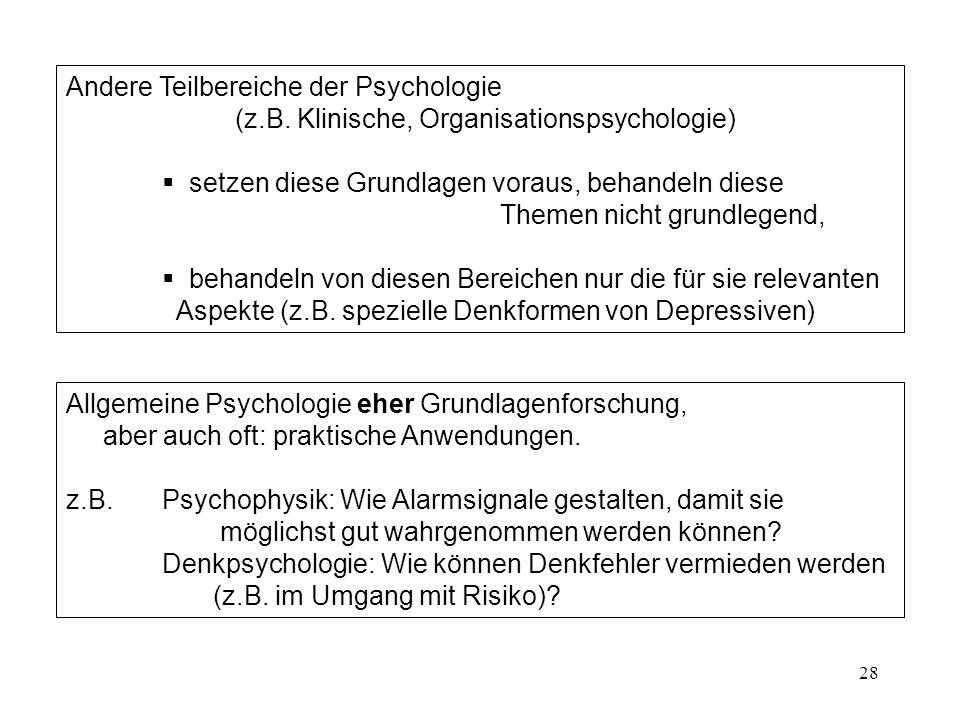 Andere Teilbereiche der Psychologie