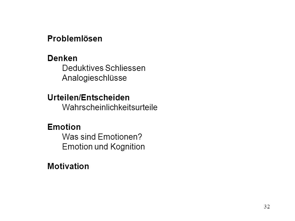 Problemlösen Denken. Deduktives Schliessen. Analogieschlüsse. Urteilen/Entscheiden. Wahrscheinlichkeitsurteile.