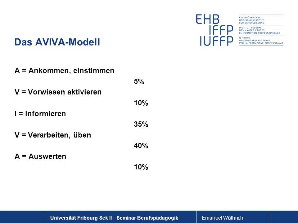 Das AVIVA-Modell A = Ankommen, einstimmen 5% V = Vorwissen aktivieren