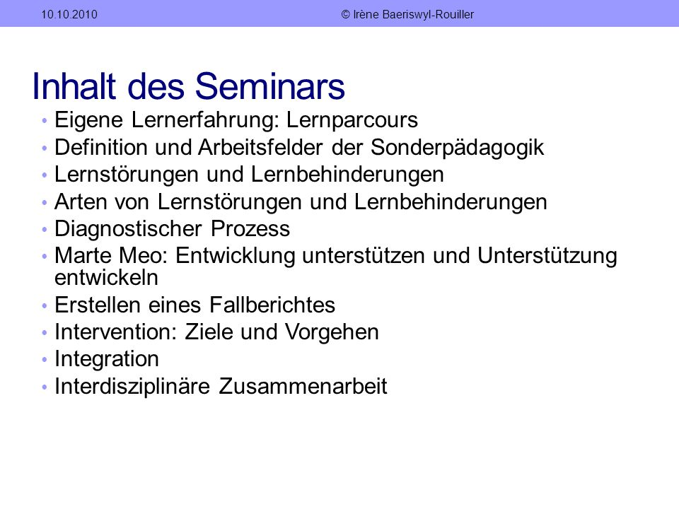 Seminar Sonderpädagogik