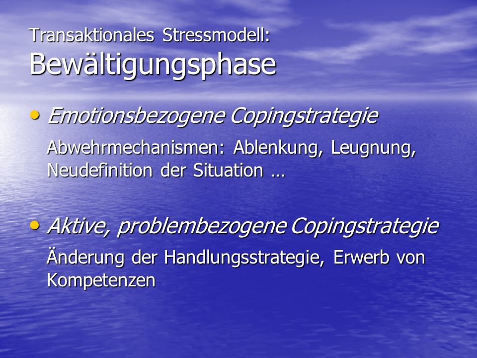 Transaktionales Stressmodell: Bewältigungsphase