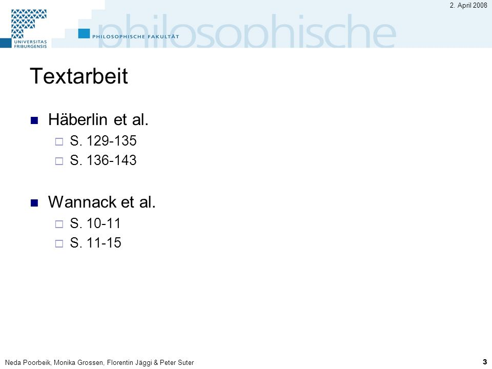 Textarbeit Häberlin et al. Wannack et al. S. 129-135 S. 136-143